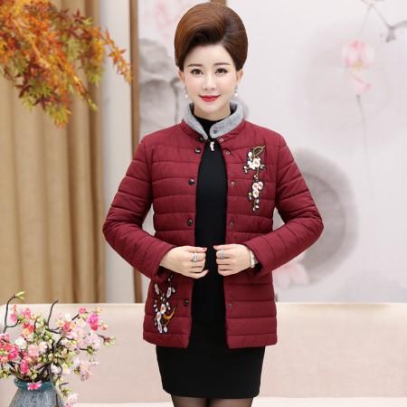 寻蔻年华中老年女装轻薄短款羽绒棉服3718·红色