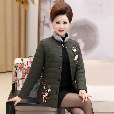寻蔻年华中老年女装轻薄短款羽绒棉服3718·绿色
