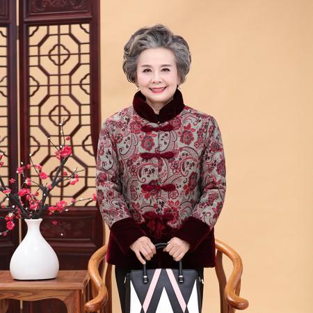 寻蔻年华中老年人女装冬装棉衣奶奶棉服4700·红色