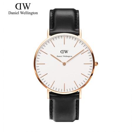 丹尼尔惠灵顿(Daniel Wellington)手表DW男表40mm表盘金色边