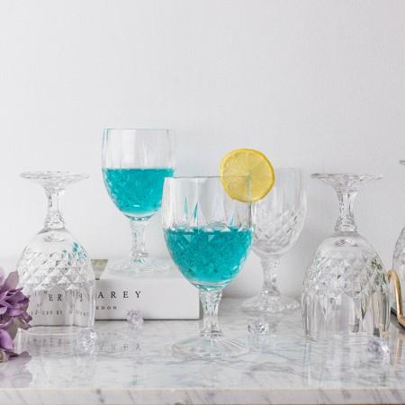 奇居良品 米娜无铅透明玻璃高脚小酒杯/红酒杯 6件套 C款·透明