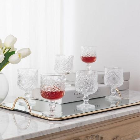 奇居良品 米娜无铅透明玻璃高脚小酒杯/红酒杯 6件套 A款·透明