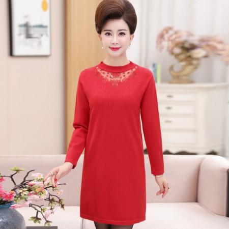 寻蔻年华毛衣打底衫中长款气质蕾丝连衣裙8320·红色
