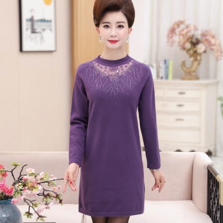 寻蔻年华毛衣打底衫中长款气质蕾丝连衣裙8320·紫色