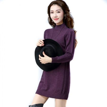 SSYAOGE 纯色高领套头针织连衣裙901·紫色