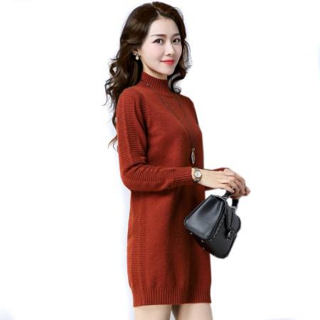 SSYAOGE 纯色高领套头针织连衣裙901·焦糖色