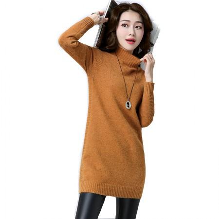 SSYAOGE 纯色高领套头针织连衣裙901·姜黄色