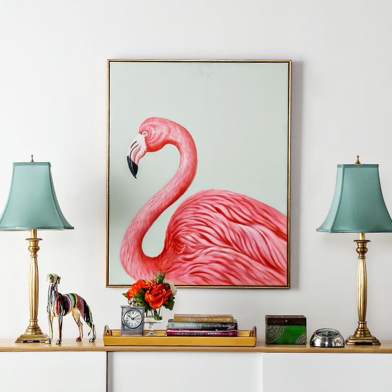 奇居良品 ins风客厅卧室玄关帆布有框装饰挂画 火烈鸟手绘油画·粉色