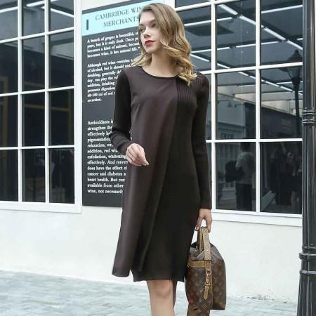 尚浓圆领拼接修身显瘦长袖针织连衣裙·咖啡色