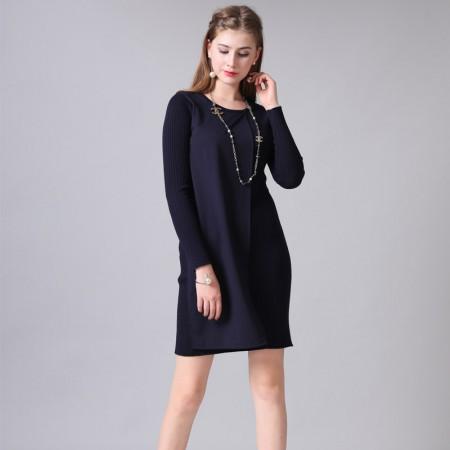 尚浓圆领拼接修身显瘦长袖针织连衣裙·藏青