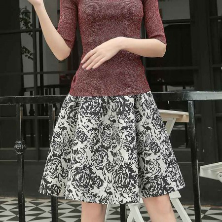 尚浓玫瑰花印花公主裙低腰蓬蓬裙中长款半身裙秋冬季半裙·黑白花