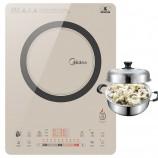 美的Midea 电磁炉QH2130 进口NEG面板恒匀火 赠不锈钢蒸锅