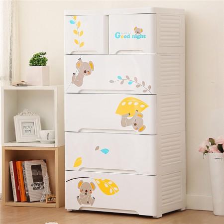 Yeya也雅宝宝抽屉式儿童衣柜收纳柜塑料 卡通储物柜五斗柜抽屉柜·树熊色
