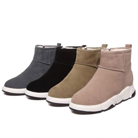 Garthphil 磨砂平底厚底内增高加绒棉鞋雪地靴·裸粉色