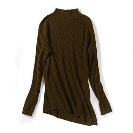 丁摩 羊毛斜纹开叉打底针织衫7906·绿色