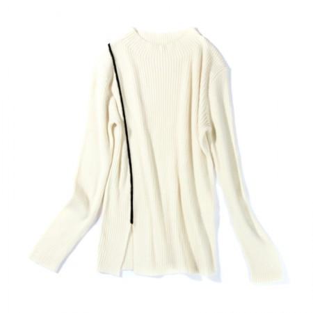 SSYAOGE 羊毛时尚下摆开叉打底衫179·米白色