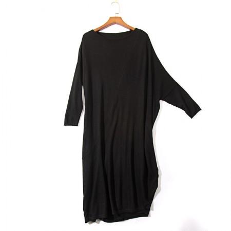 SSYAOGE 羊毛宽松简约有质感针织连衣裙178013·黑色