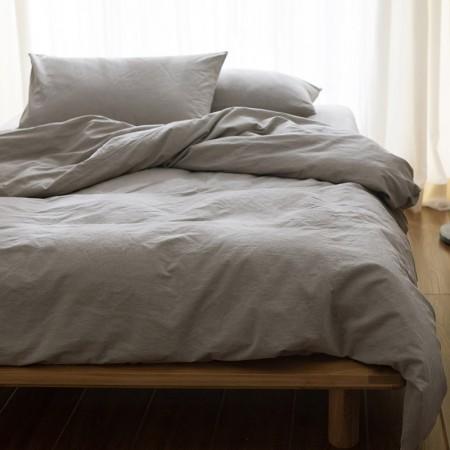 莱薇 全棉素色水洗棉色织床笠款四件套6尺床(浅灰)·浅灰