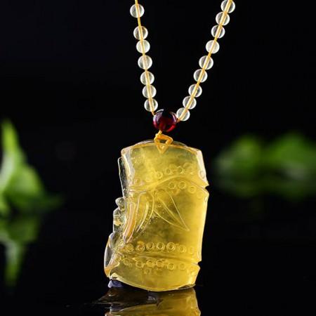 卓凡珠宝节节高升琥珀吊坠·黄色