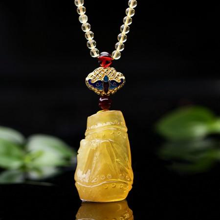 卓凡珠宝竹报平安琥珀吊坠·黄色