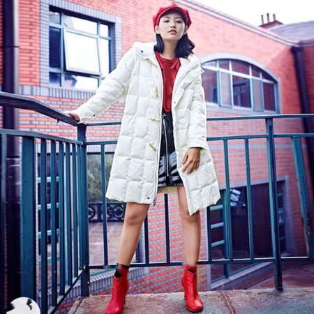 尚浓冬季新款保暖连帽中长款牛角扣外套时尚减龄白鸭绒羽绒服·白色