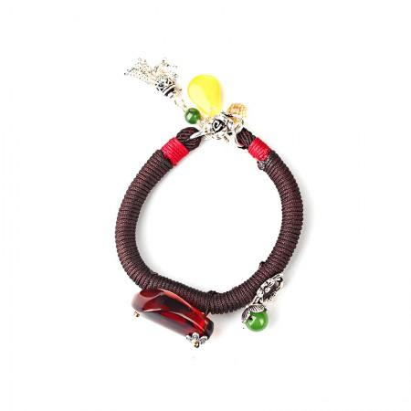 卓凡随行琥珀手工编绳手链·褐红色