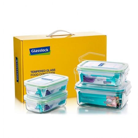 韩国进口Glasslock三光云彩钢化玻璃饭盒保鲜盒4件套GL4-08