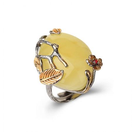 卓凡民族风琥珀蜜蜡戒指·黄色