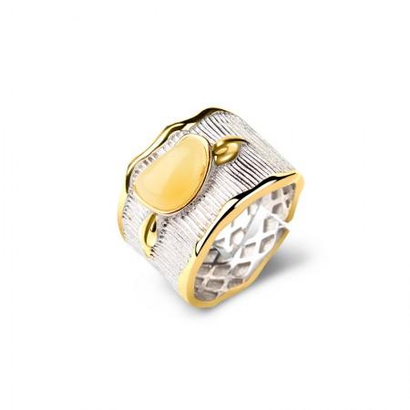 卓凡蜜蜡随型掐丝时尚开口宽版指环·黄色