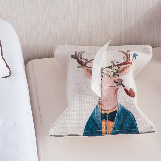 宝优妮纸巾套棉麻纸巾袋家用纸巾盒2只装DQ9067·鹿先生
