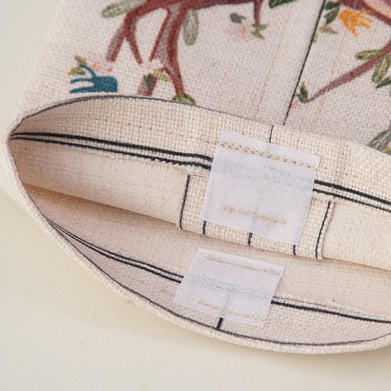 宝优妮纸巾套棉麻纸巾袋家用纸巾盒2只装DQ9067·火烈鸟