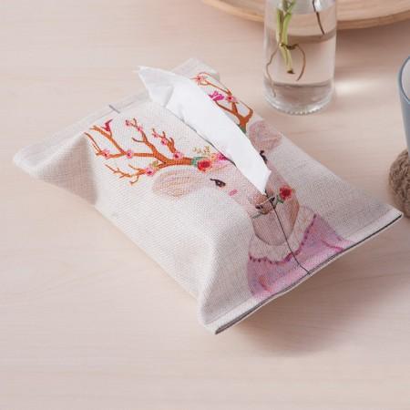 宝优妮纸巾套棉麻纸巾袋家用纸巾盒2只装DQ9067·鹿小姐