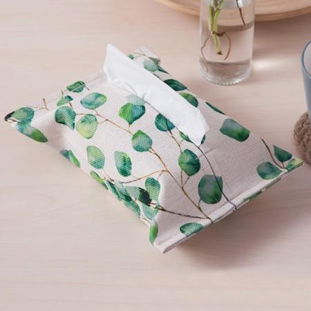 宝优妮纸巾套棉麻纸巾袋家用纸巾盒2只装DQ9067·绿叶