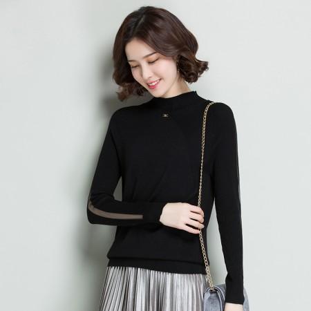 皮尔卡丹羊毛衫女套头圆领长袖针织衫网纱百搭时尚女装宽松打底衫·黑色
