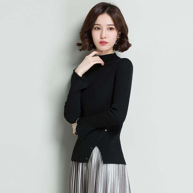 皮尔卡丹羊毛衫女套头半高领长袖针织衫喇叭袖下摆开叉女装修身打底衫·焦糖