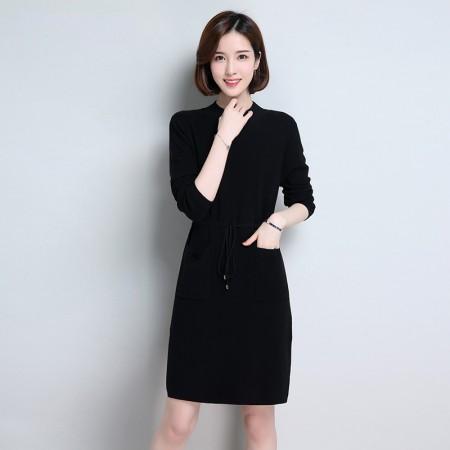 皮尔卡丹羊毛衫女套头圆领纯色长袖针织衫长款收腰系带女装毛衣宽松打底衫·黑色