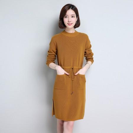 皮尔卡丹羊毛衫女套头圆领纯色长袖针织衫长款收腰系带女装毛衣宽松打底衫·浅棕