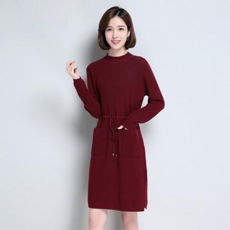 皮尔卡丹羊毛衫女套头圆领纯色长袖针织衫长款收腰系带女装毛衣宽松打底衫·深红