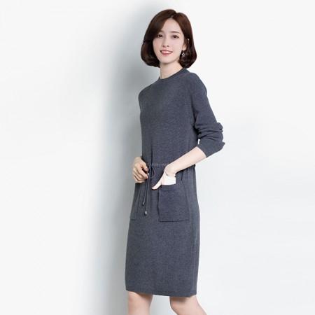 皮尔卡丹羊毛衫女套头圆领纯色长袖针织衫长款收腰系带女装毛衣宽松打底衫·深灰