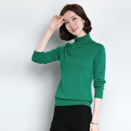 皮尔卡丹羊毛衫女套头高领纯色长袖针织衫女装毛衣宽松打底衫·深绿