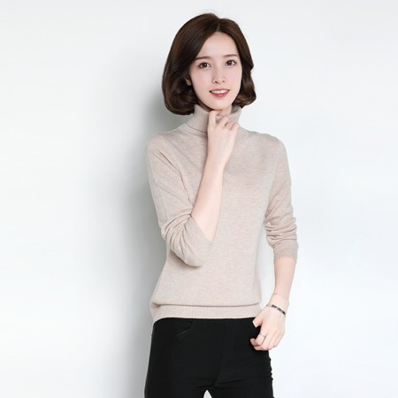 皮尔卡丹羊毛衫女套头高领纯色长袖针织衫女装毛衣宽松打底衫·深米