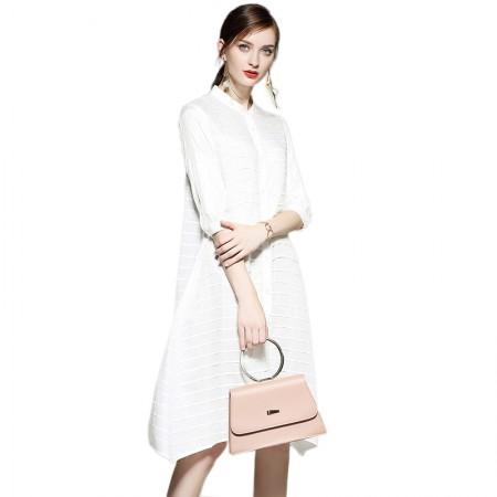 SSYAOGE 纯色宽松舒适褶皱A字连衣裙ZYY01·白色