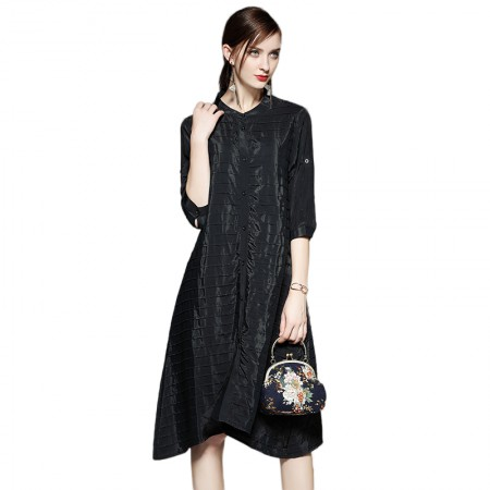 SSYAOGE 纯色宽松舒适褶皱A字连衣裙ZYY01·黑色