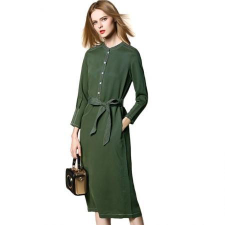 SSYAOGE 复古立领长袖修身系腰带纯色A字连衣裙BDL01·绿色