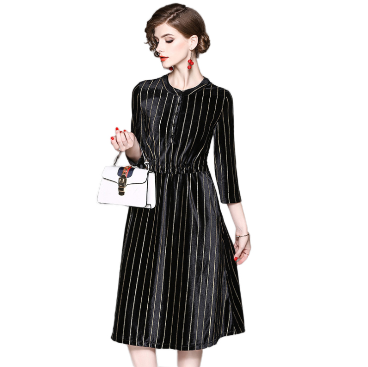 妖歌条纹丝绒立领中款宽松连衣裙52903·黑色