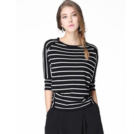 欧力丝OLISI 经典黑白条纹针织衫·黑色