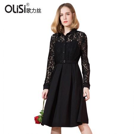 OLISI欧力丝个性翻领时尚镂空蕾丝褶皱中长款气质连衣裙·黑色