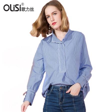 OLISI欧力丝新款时尚V领长袖衬衣韩版宽松百搭上衣·条纹