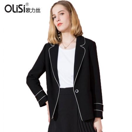 OLISI欧力丝女装外套欧美时尚通勤显瘦睡衣风镶边西装外套女·黑色