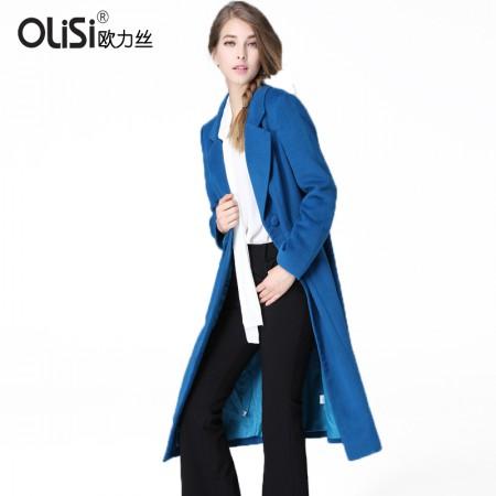 OLISI欧力丝女装蓝色时尚优雅中长款显瘦百搭羊毛妮子大衣外套披风·蓝色